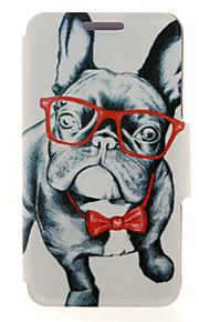 kinston® motif verre animal chien en cuir PU couverture complète du corps avec support pour HTC Desire yeux / M910