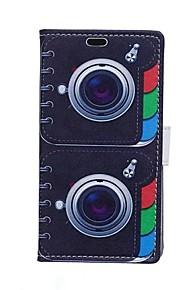 doble tarjeta patrones cuerno billetera de cuero de la PU caso de cuerpo completo para el deseo htc 826