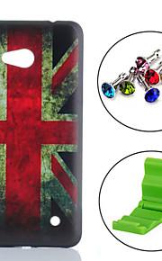 노키아 루미아 640에 대한 영국 국기 패턴 PC 하드 다시 커버 먼지 방지 플러그 케이스와 스탠드