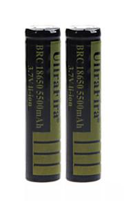 ullra fira 3.7V 5500mAh 18650 oplaadbare lithium-ion batterij (2 stuks)