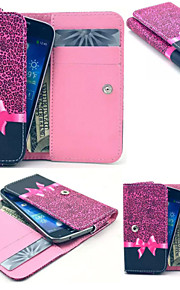 Red Leopard PU Leather Wallet style Full Body Case and Card Slot for Iphone Mobile Size<12.3*6.5*2