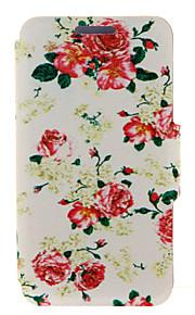 kinston® flores rojas patrón de cuerpo completo la cubierta de la PU con el soporte para HTC uno M7 / M8 / M9 y HTC Desire 816/826 / ojo
