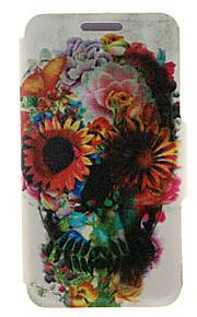 flor kinston® modelo del cráneo adornado cuerpo completo la cubierta de la PU con el soporte para HTC uno M7 / M8 / M9 y HTC Desire