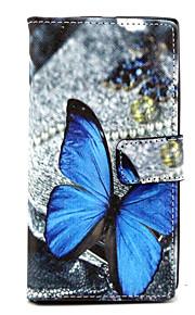 노키아 루미아의 N830 블루 나비 패턴 지갑 카드 PU 가죽 전신 경우