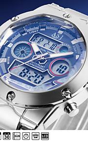 mens moda militares esporte pulso de quartzo relógios dupla tempo de exibição data dia zona lcd alarme impermeável cronógrafo
