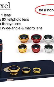"apexel 4 i 1 8x svart teleskop lins + fisheye-objektiv + vidvinkel + makrokameralinsen med fallet för iphone 6 plus 5,5 """