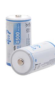 godp 4500mAh 1.2V c-type oplaadbare NiMH-batterijen (2 stuks)