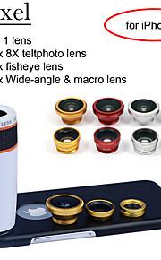 """apexel 4 i 1 skit 8x vit teleskop lins + fisheye-objektiv + vidvinkel + makrokameralinsen med fallet för iphone 6 4.7 """""""