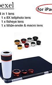 apexel 4 i 1 skit 8x vit teleskop lins + fisheye-objektiv + vidvinkel + makrokameralinsen med fallet för iPad Mini 2/3