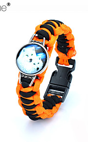 Lureme®  Europestyle Brief Orange Intertwine  Black Weave Parachute Cord Two White Wolf Time Gem Alloy Bracelet