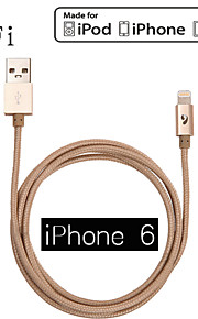 mfi lyn 2.1a 8-pin til usb m / m fargerike ladesynkroniseringsdata for iphone 6 pluss og iphone 5s / 5 ipad luft / 2 (120cm)