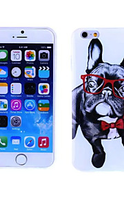 Glasses Dog Pattern TPU And IMD Soft Case for iPhone 5/5S