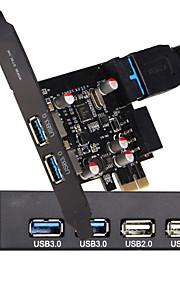 Panel frontal de la bahía de disquete de 3,5 pulgadas con 2 usb 3.0 de 2 puertos USB 2.0 + pci-e express card con conector de alimentación
