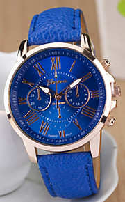 caso mostrador redondo relógio de couro marca de moda de quartzo das senhoras assistir relógio do esporte