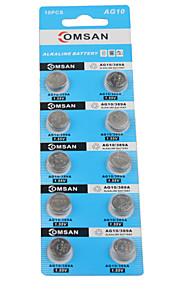 comsan AG10 LR1130 389 hoge capaciteit knop batterijen (10st)