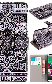 patrón de flores negro con el bolso de la tarjeta caso de cuerpo completo para el htc uno m8