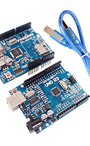 Improved Version UNO R3 ATMEGA328P Board Module + Ethernet Shield W5100 Module for Arduino