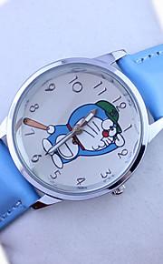 Kinder Doraemon Muster PU-Band niedlichen Cartoon-analoge Armbanduhr