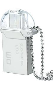 dm pd008 8gb usb unidade otg impermeável 2.0 + micro usb flash para telefones inteligentes&computador - prata