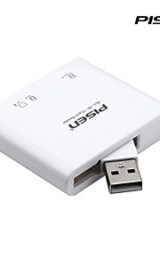 Pisen 3-in-1 Card Reader for SD/TF/CF Cards with Foldable USB 2.0 Port Color White