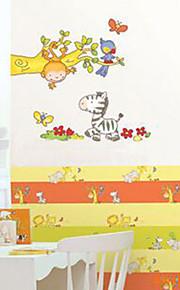 multifunções pvc diy zebra, macaco, teste padrão de pássaros adesivos decorativos