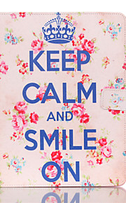 Keep Caim And Smile On Pattern PU Leather Full Body Case With Stand for iPad 4/iPad 3/iPad 2