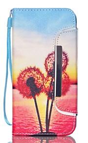 Body collant portefeuille / Support de Carte / résister Pissenlit Cuir PU Dur Couverture de cas pour Samsung GalaxyS6 edge / S6 / S5 Mini
