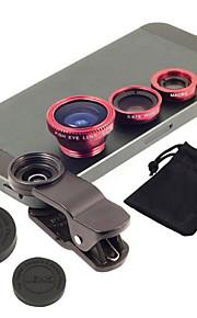 nye universelle 3 in1 clip-on vinkel makro kit fiskeøje bred mobiltelefon kameralinsen for iphone til samsung