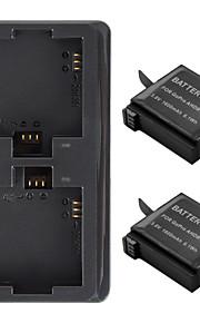 USB Dual-Slot Battery Charger + 2Pcs 1600mAh Batteries for Gopro Hero 4