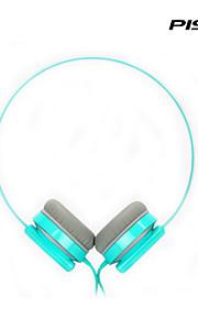 pisen 경량 유선 회전 헤드셋 조절 가능한 헤드 밴드 표준 3.5mm의 오버 이어 헤드폰 1.5M 와이어