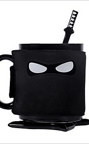 Creative Ninja Mug Spoon Stirring Coffee Cup Coaster Containing Removable Insulated Cup Shield