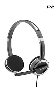 Pisen Wired Headset Adjustable Headband Standard 3.5mm Over-ear Headphone with Microphone 2m Wire Black