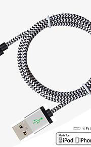 MFI certyfikowany kabel wyrzeźbić piorun 4 stóp (1,2 m) 8 pin do kabla usb sync nylonu do Apple iPhone 5/6/6 plus ipad powietrza / ari2