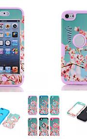 cherry blossom pattern di alta qualità a scatto silicone pc + ibrido della copertura della cassa dell'armatura combinata per iPod touch 6