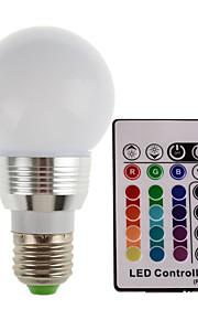 3W E27 / E14 180lm RGB LED lys farge skiftende lampe pære med fjernkontroll (85-265V)