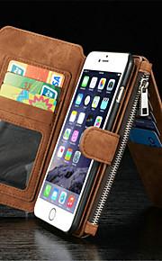 kortholderen med lynlås split sutte klistermærker pu materiale flip tegnebog læderetui til iPhone 6 / 6s (assorterede farver)