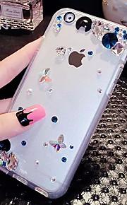 lady®elegant / luksuriøse telefon etui til iPhone 6 plus / 6s plus (5,5 tommer), dekoreret med diamanter og silikone meterial