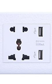 универсальный пять отверстий гнездо Dual USB зарядки (белый с рисунком)