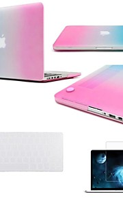 "3 in 1 Rainbow Colorful Rubberized Hard Case for MacBook Air Pro Retina 11""/13""/15""+Keyboard Cover+Screen protector"