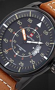 Masculino Assista Quartzo Japonês Relógio Militar Calendário / Impermeável Couro Banda Relógio de Pulso