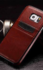 graisser vitrage étui en cuir de mode couvrir retour avec fente pour carte téléphone mobile pour Samsung Galaxy S6 / S6 bord / bord S6