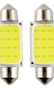 2stk girlander 39mm 3W 240lm 6000K cob ledet hvitt lys for bil styring lyspære / leselampe (DC12V)