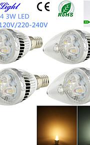 youoklight® 4stk E14 3W 260lm 3000 / 6000K 3-høy effekt ledet bola stearinlys formet lampe (ac110-120 / 220-240V)