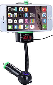 bilstereo musikspelaren FM-sändare med telefonhållare trådlös LED-display fm frekvens handsfree USB-laddare