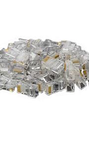 8pin rj45 abs conector enchufe modular transparentes 50 piezas
