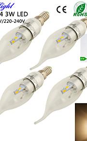 youoklight® 4stk e14 3W 280lm 6 x smd5730 varm hvit ledet spiss hale form stearinlys lampe -Silver (ac110-120v / 220-240V)