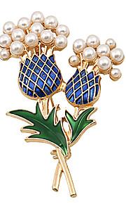 Fashion Women Trendy Pearl Set Enamel Pineapple Brooch