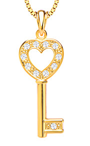 18K forgyldt dejlige hjerte nøgle krystal vedhæng smykker hvid simulerede diamant vedhæng til kvinder / mænd p30136
