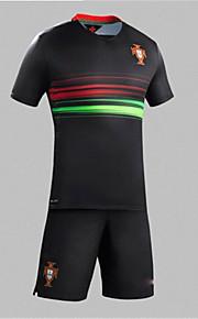 2016 Europ Cup Portugal Natioanl Football Team Unisex Half Sleeve Soccer Tops Wicking Black  M / L / XL
