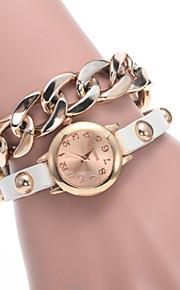 Dames Modieus horloge Kwarts Vrijetijdshorloge PU Band armband Zwart / Wit / Rood / Bruin
